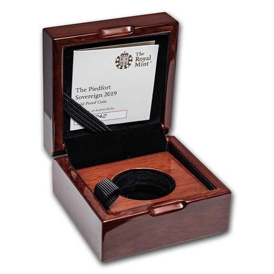OGP Box & COA - 2019 Gold Sovereign Piedfort PF (Empty)