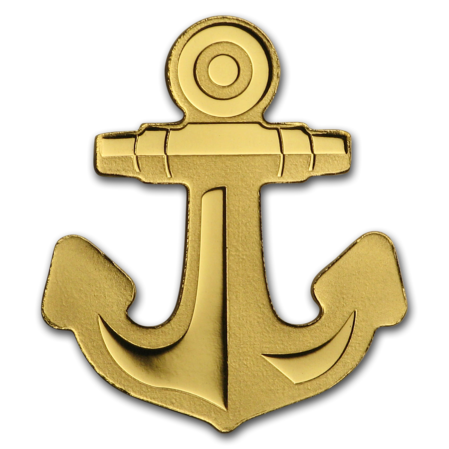 Palau 1/2 gram Gold $1 Golden Anchor