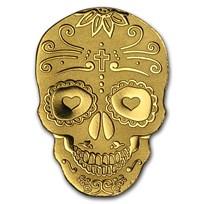 Palau 1/2 gram Gold $1 Golden La Catrina Skull