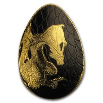 Palau 1/2 gram Golden Dragon Concave Egg Shape Proof