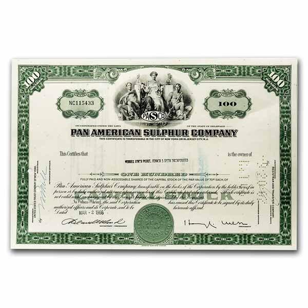 Pan American Sulphur Company Stock Certificate (Green)