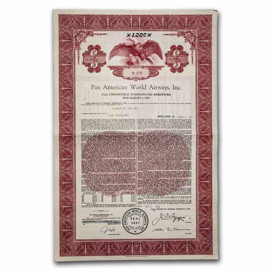 Pan American World Airways, Inc. Bond Certificate (Red)