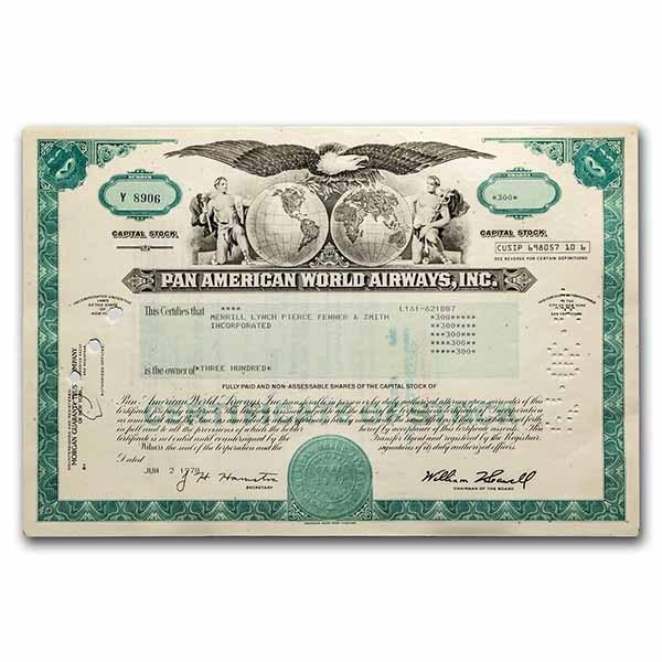 Pan American World Airways, Inc. Stock Certificate (Aqua)