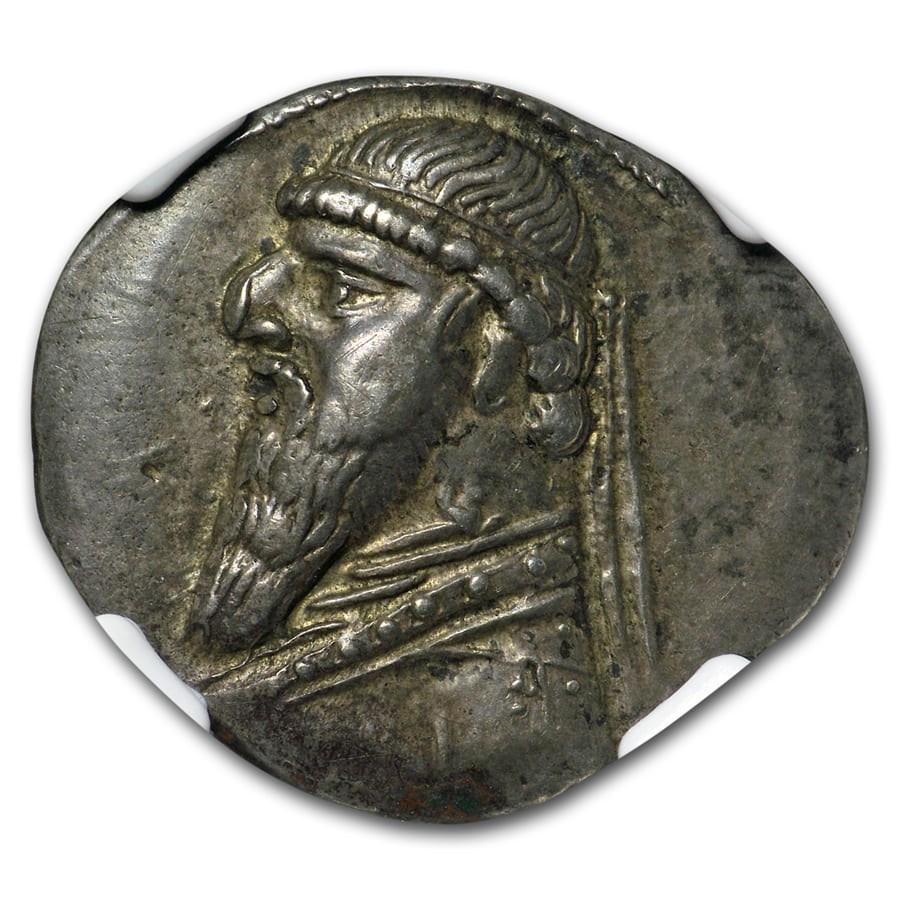 Parthian Empire AR Drachm Mithradates II (121-91 BC) XF NGC