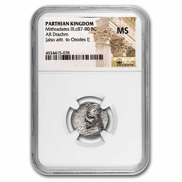 Parthian Empire Silver Drachm Mithradates III (87-80 BC) MS NGC