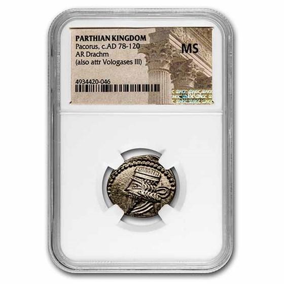 Parthian Empire Silver Drachm Mithradates V (128-147 BC) MS NGC