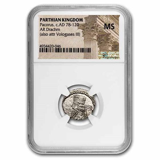 Parthian Empire Silver Drachm Pacorus (78-120 AD) MS NGC