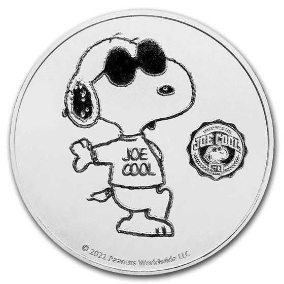 Peanuts® Joe Cool 50th Anniversary 1 oz Silver Round