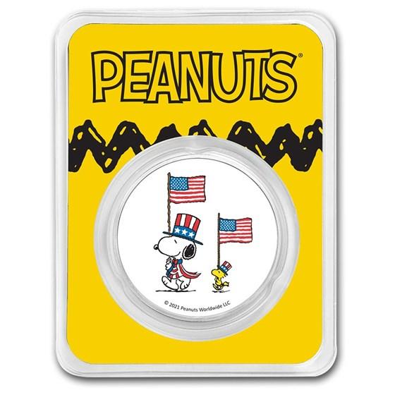 Peanuts® Patriotic Snoopy & Woodstock 1 oz Colorized Silver