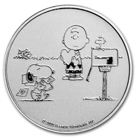 Peanuts® Snoopy and Charlie Brown Valentine 1 oz Silver Round