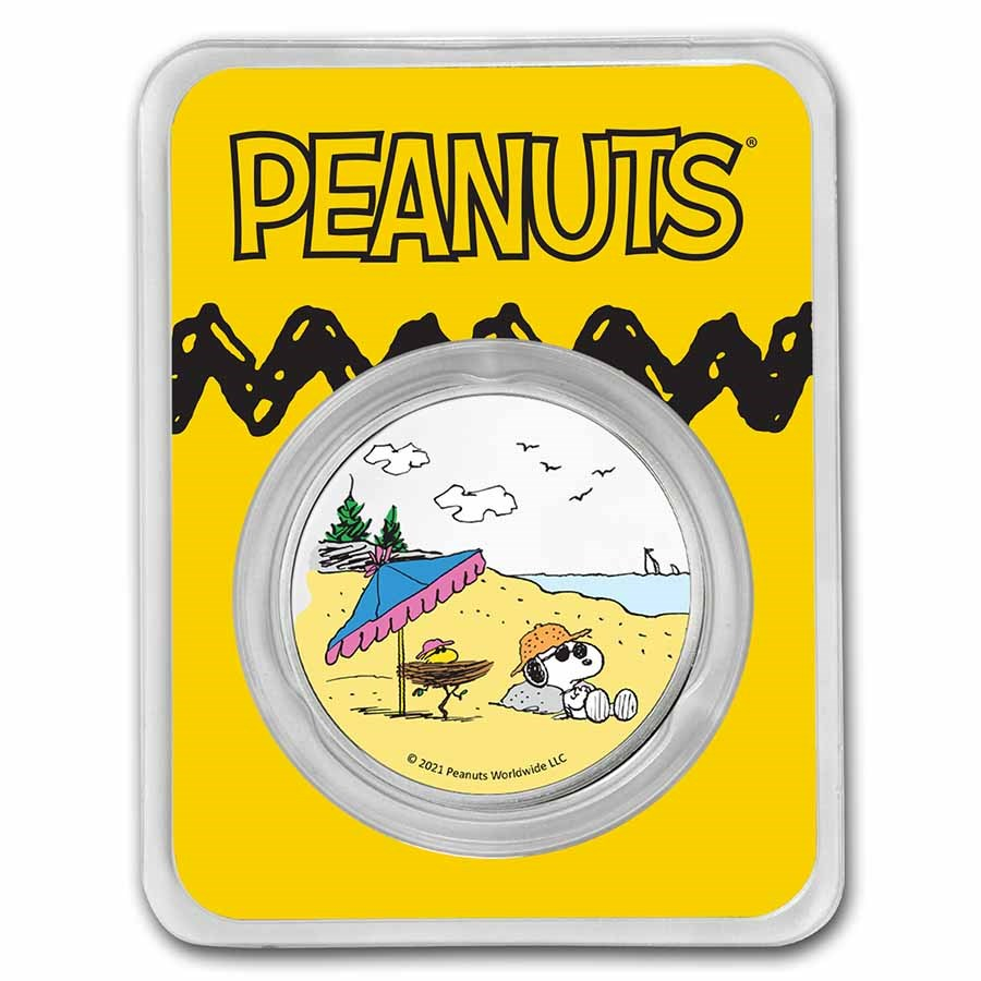 Peanuts® Snoopy & Woodstock at the Beach 1 oz Colorized Silver