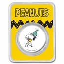 Peanuts® Snoopy & Woodstock Celebrate 1 oz Colorized Silver Round