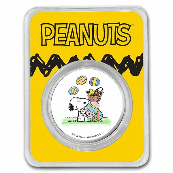 Peanuts® Snoopy & Woodstock Easter Egg Hunt 1 oz Colorized Silver