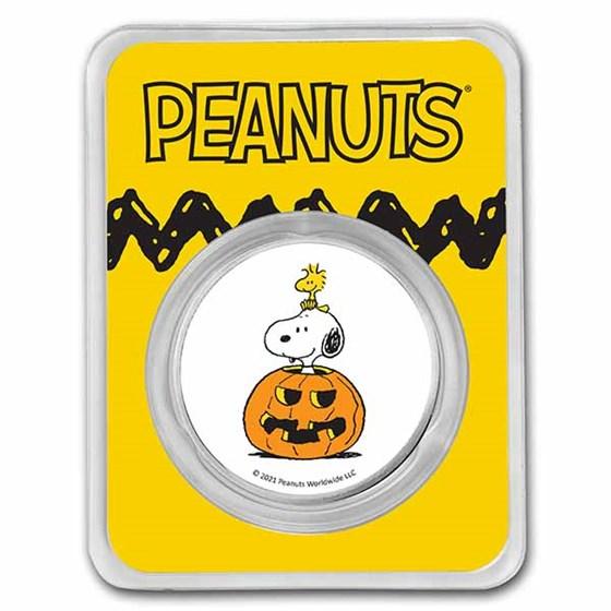 Peanuts® Snoopy & Woodstock Jack-o-Lantern 1 oz Colorized Silver