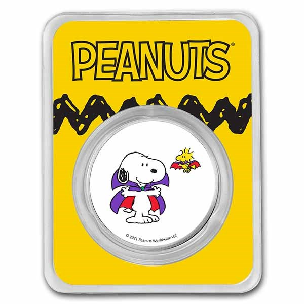 Peanuts® Snoopy, Woodstock Vampire Costumes 1 oz Colorized Silver