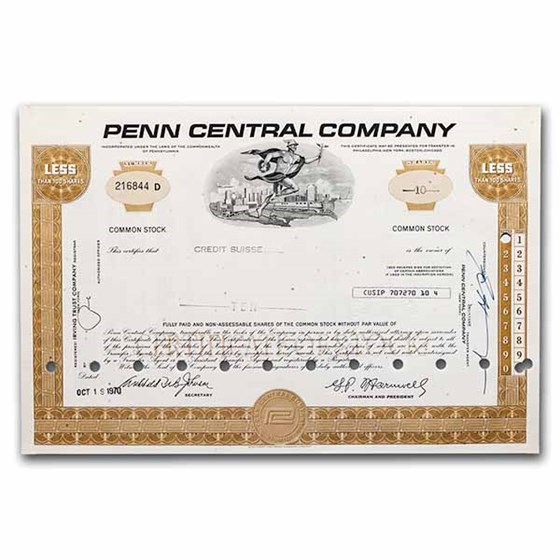 Penn Central Company Stock Certificate (Brown)