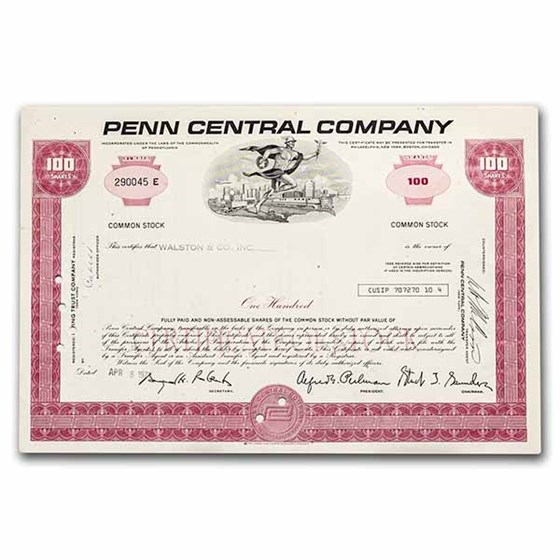 Penn Central Company Stock Certificate (Red)