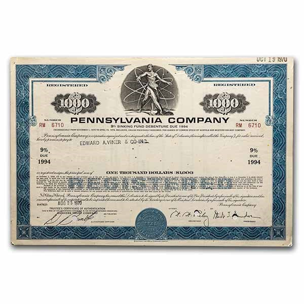 Pennsylvania Company Bond Certificate (Blue)