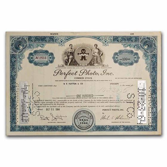 Perfect Photo, Inc. Stock Certificate (Blue)