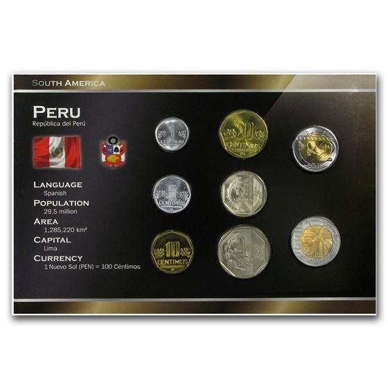 Peru 1 Centimo - 5 Nuevos Soles 8-Coin Set BU