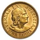 Peru Gold 1 Libra AU (AGW .2354, Random)