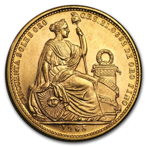 Peru Gold 50 Soles Seated Liberty BU (Random)