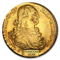 Peru Gold 8 Escudos Charles IV XF