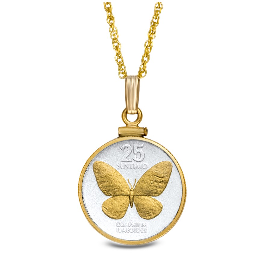 Philippines 25 Centimos Butterfly Necklace w/14k Gold Fill Bezel