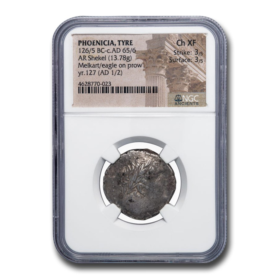 Phoenicia Tyre AR Shekel (1-2 AD) Ch XF NGC (Lifetime of Christ)