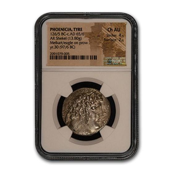 Phoenicia Tyre Silver Shekel (126-5 BC-65-6 AD) Ch AU NGC