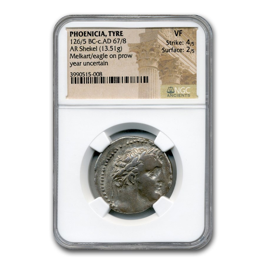 Phoenicia Tyre Silver Shekel (126-5 BC-67-8 AD) VF NGC