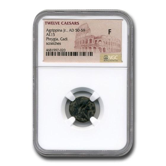 Phrygia Roman Provincial Bronze Agrippina Jr. (50-59 AD) Fine NGC
