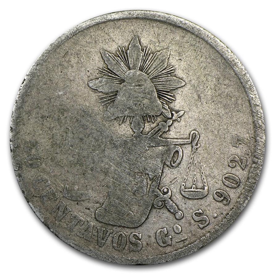 Pre-1900 Mexico Silver 50 Centavos Avg Circ (ASW .393 oz)
