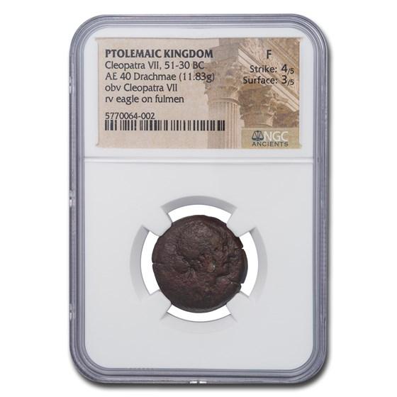 Ptolemaic Kingdom Cleopatra VII AE 40 Drachmae 51-30 BC Fine NGC