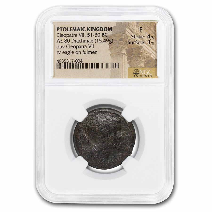 Ptolemaic Kingdom Cleopatra VII AE 80 Drachmae 51-30 BC Fine NGC