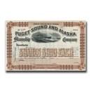 Puget Sound & Alaska Steamship Company Stock Certificate (1890's)