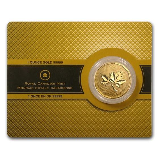 Random Year 1 oz Gold Maple Leaf .99999 BU (w/Assay Card)
