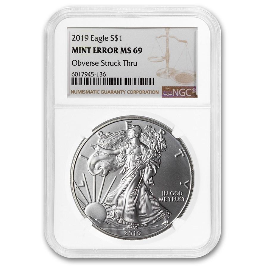 Random Year U.S Silver Eagle MS-69 NGC (Error, Obv Struck Thru)
