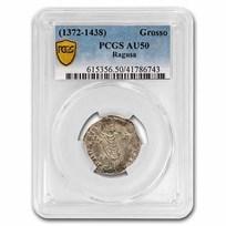 Republic of Ragusa Silver Grosso (1372-1438 AD) AU-50 PCGS