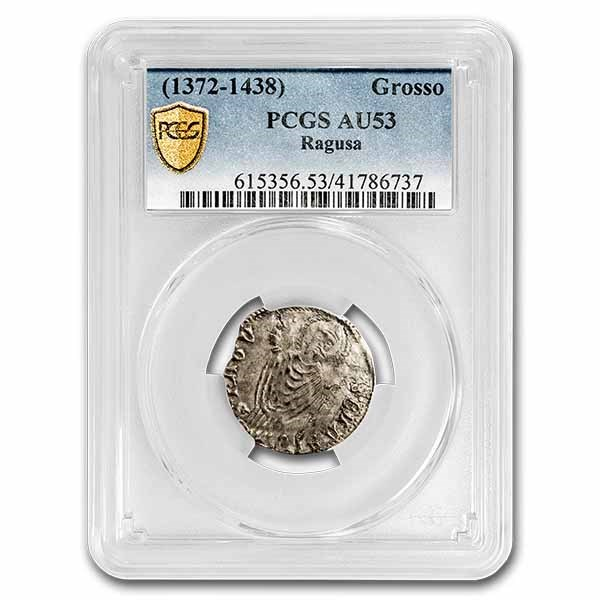 Republic of Ragusa Silver Grosso (1372-1438 AD) AU-53 PCGS