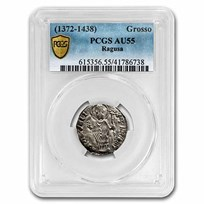 Republic of Ragusa Silver Grosso (1372-1438 AD) AU-55 PCGS