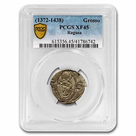 Republic of Ragusa Silver Grosso (1372-1438 AD) XF-45 PCGS