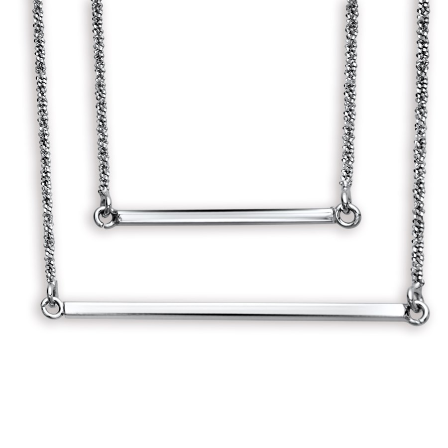 """Rhodium Plated Sterling Silver 16"""" Double Layer Necklace"""