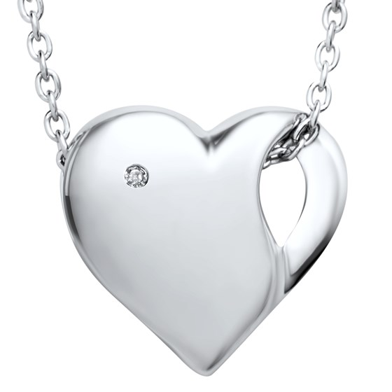 """Rhodium Plated Sterling Silver 18"""" Diamond Heart Pendant Necklace"""