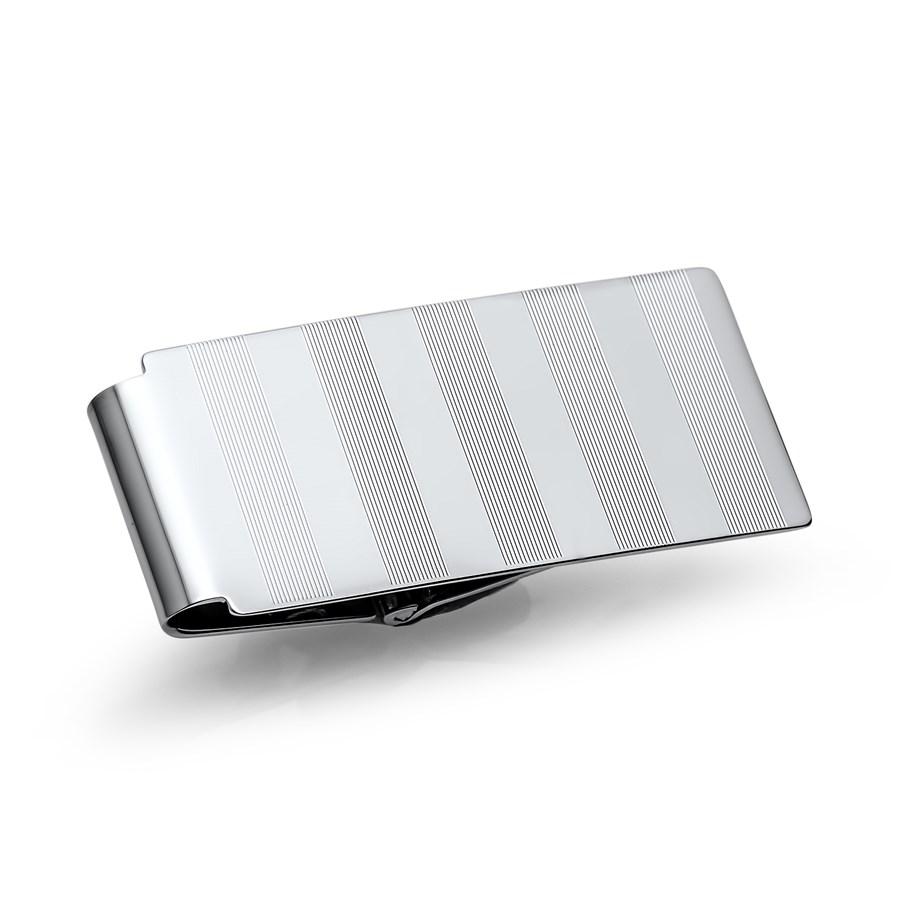 Rhodium-Plated Striped Hinged Money Clip