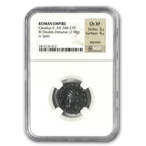 Roma Double Denarius Emperor Claudius II (268-270 AD) Ch-XF NGC