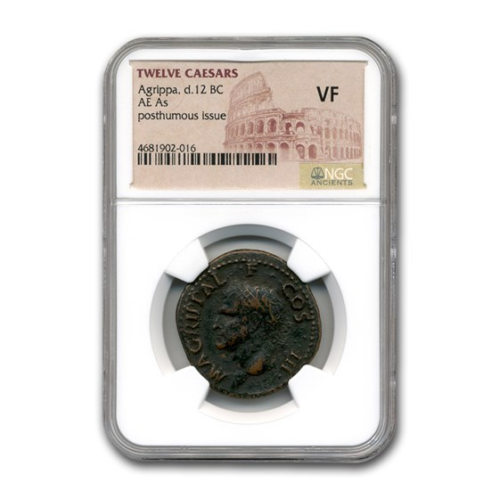 Roman AE As Emperor Agrippa (12 BC) VF NGC