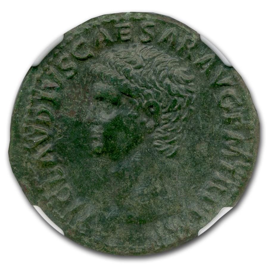 Roman AE As Emperor Claudius (41-54 AD) AU NGC