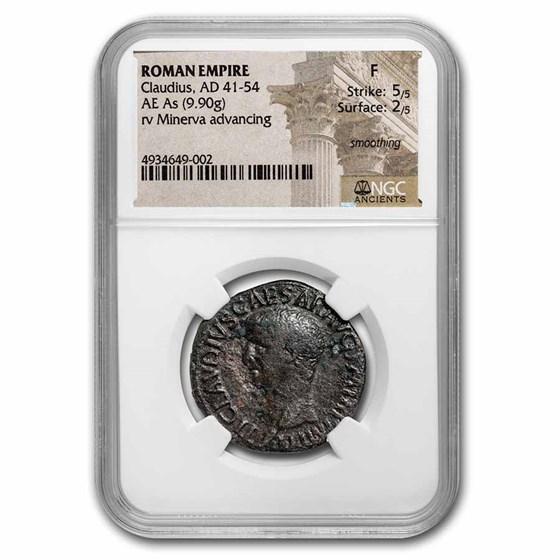 Roman AE As Emperor Claudius (41-54 AD) Fine NGC (RIC I 116)