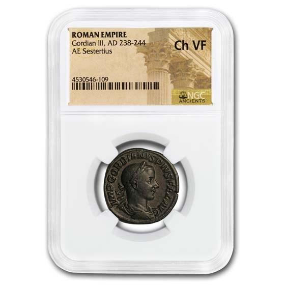 Roman AE Sestertius Emp Gordian III (238-244 AD) Ch VF NGC